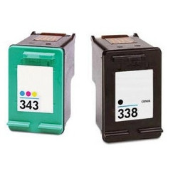 Pack of 2 cartridges N°338 and 343 black and colors for HP Photosmart 2615