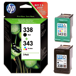 Pack of 2 cartridges N°338+ 343 black and colors for HP Photosmart 2615